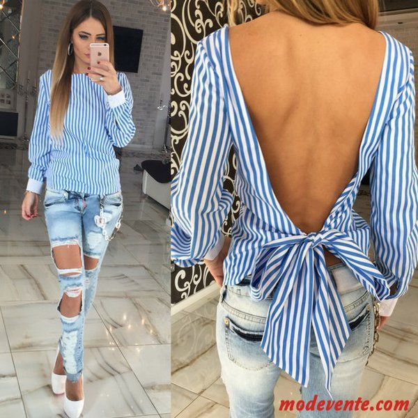 Mode Rayé Backless Bow Femmes Blouse Conception Vente
