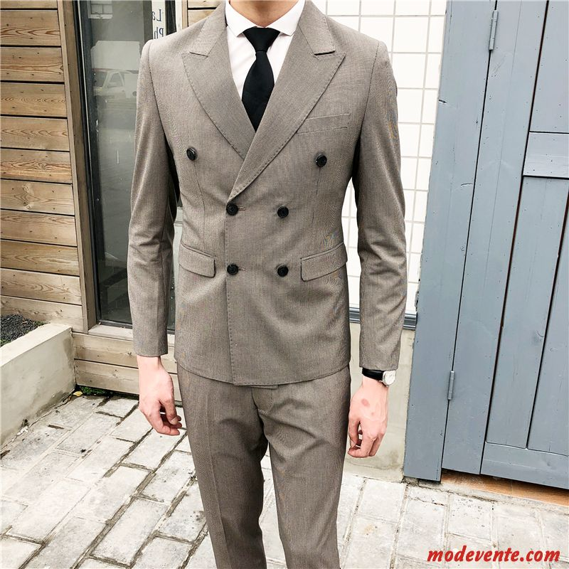 Costume Homme Double Breasted Slim Costume Formel Kaki Jeunesse Professionnel