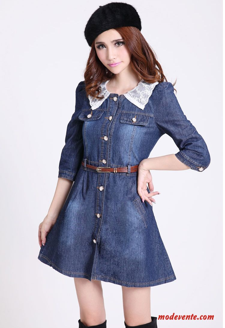 Femmes Nouvelle Collection Collier Vintage Détachables Lace Denim Robe Vestes Pas Cher