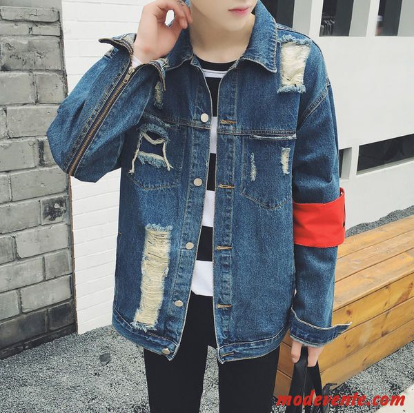 Mode Hollow Out Turndown Collier Denim Veste Hommes Pas Cher