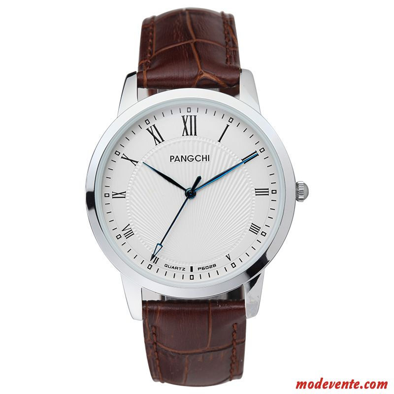 Montre Homme Montre À Bracelet Mode Femme Simple Étudiant Section Mince Bleu Marron