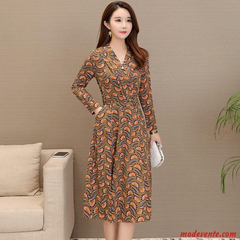 674950f4b50 Robes Femme Longues Âge Moyen Printemps L automne Mousseline De Soie  Leggings